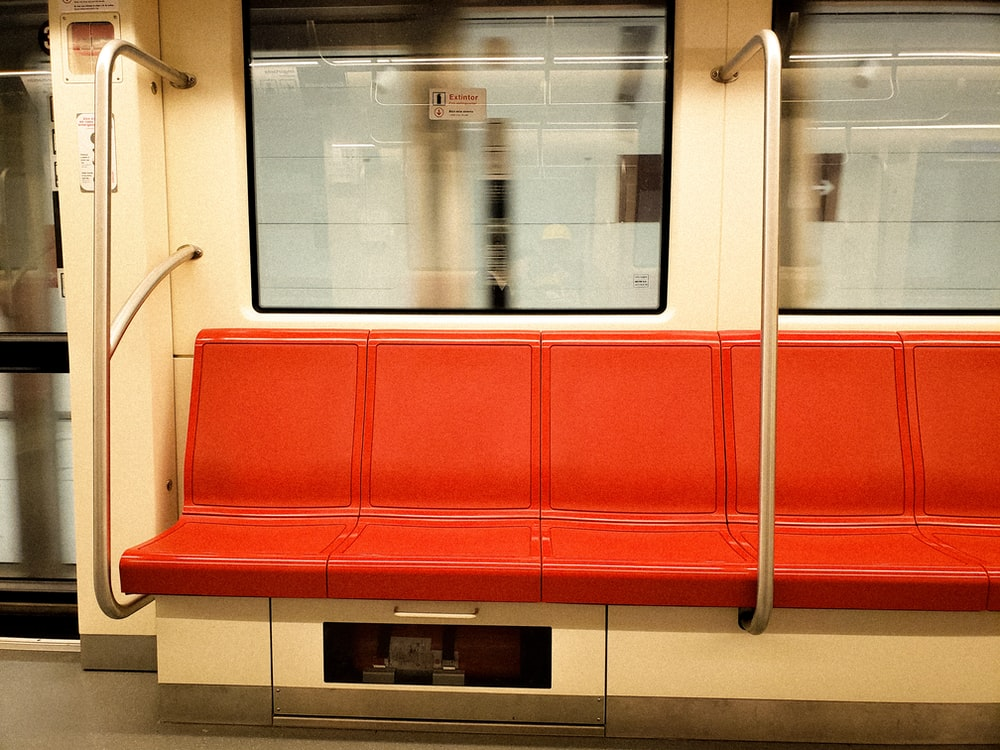 red leather train bench