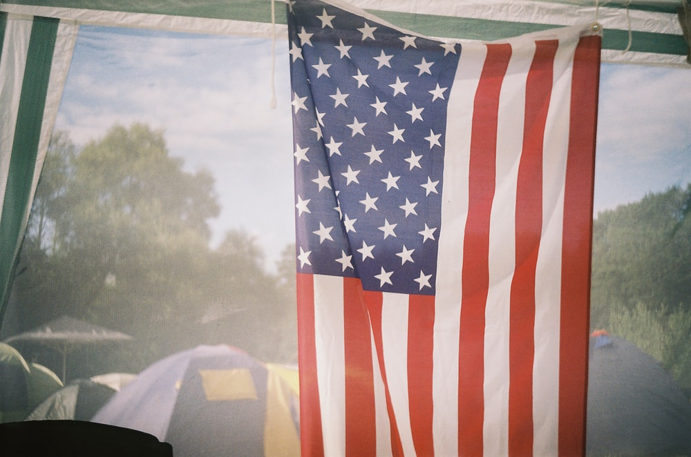 raising flag of USA