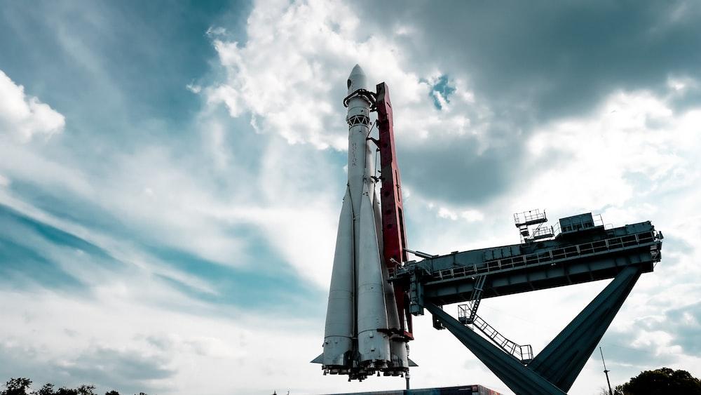 rocket under heavy clouds