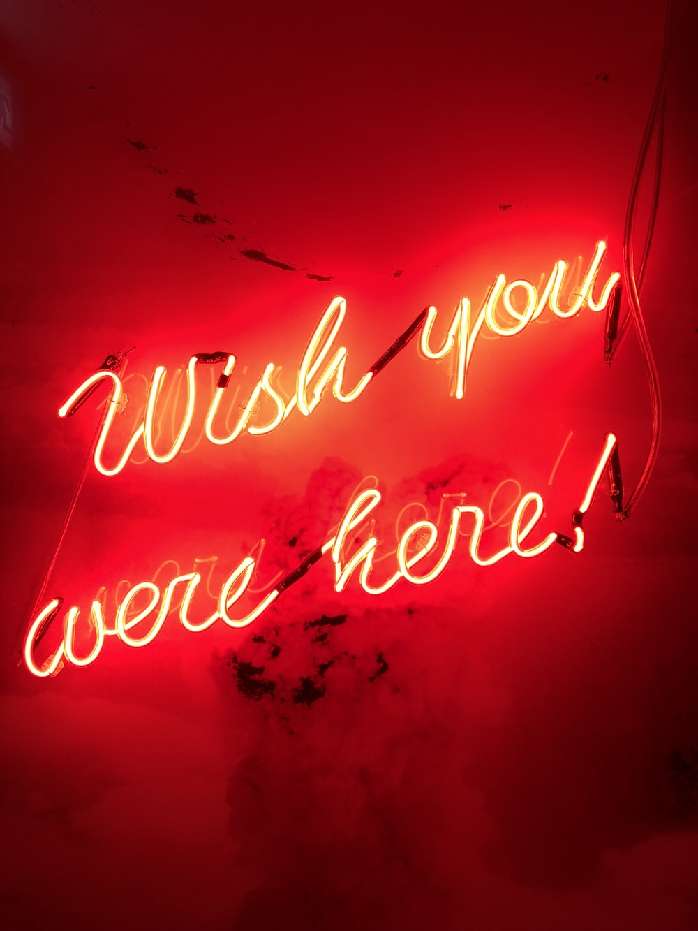 yellow wish you were here! neon sign