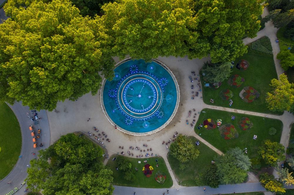 aerial photography of round swimming pool