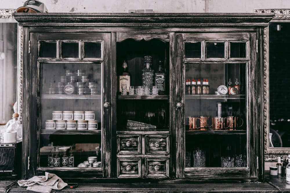 gray wooden cabinet
