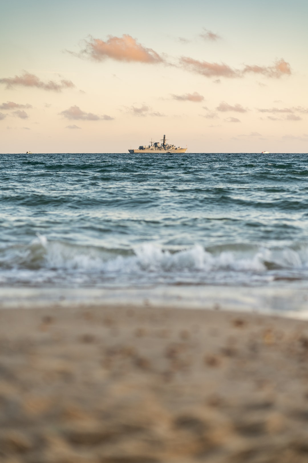 A Frigate on the South Coast of the UK near Bournemouth during Golden Hour.