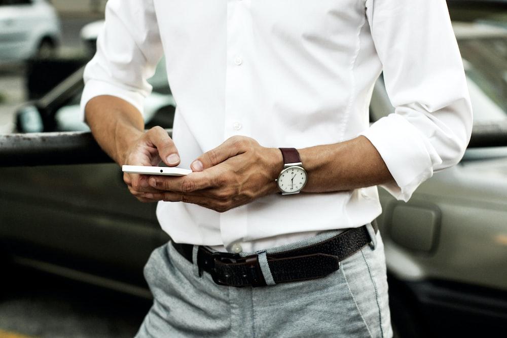 men's white button-up long-sleeved shirt