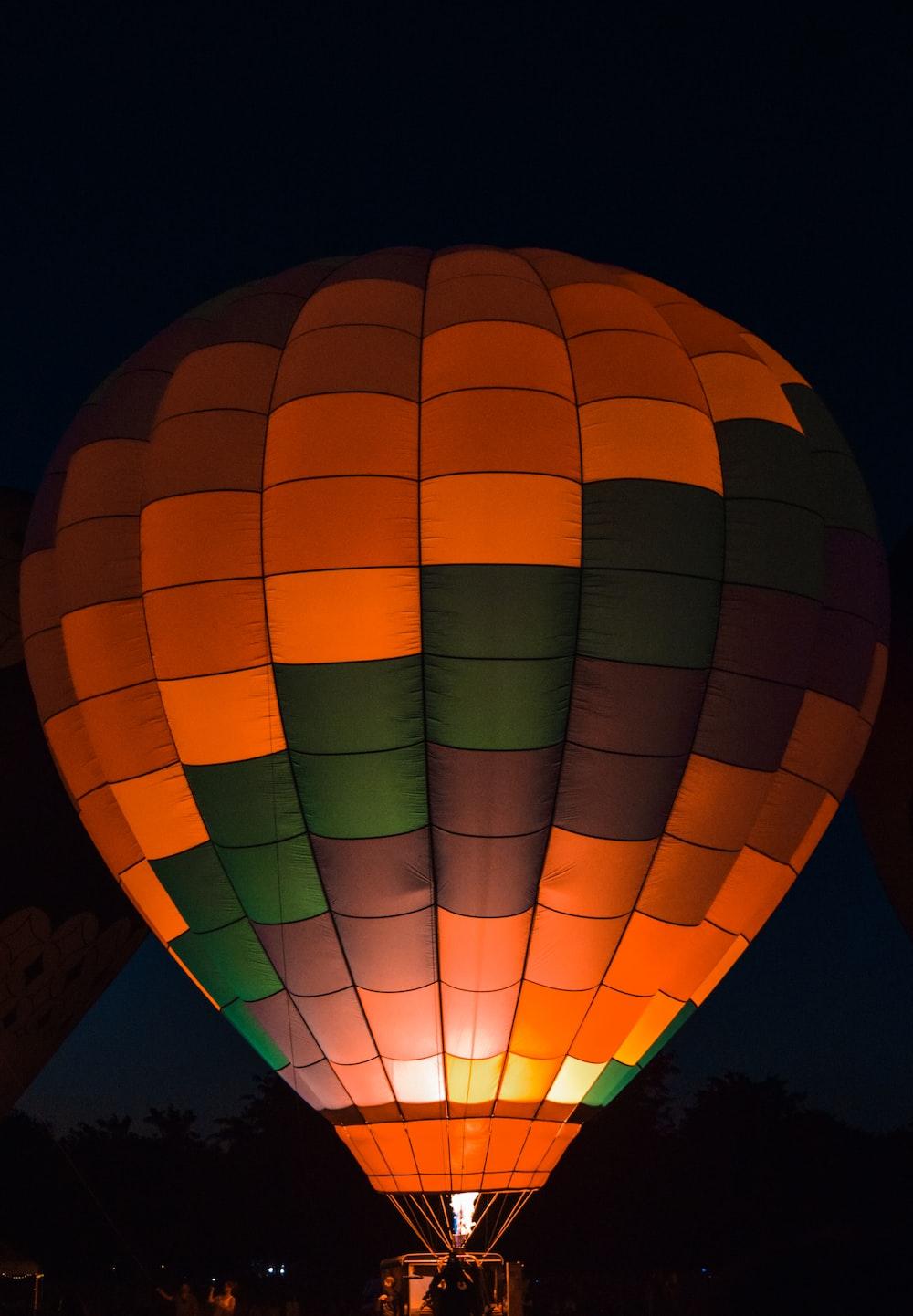 orange and green hot air balloon
