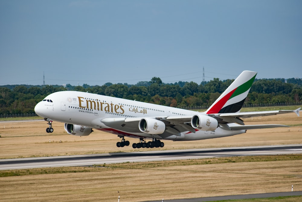 white Emirates aircraft