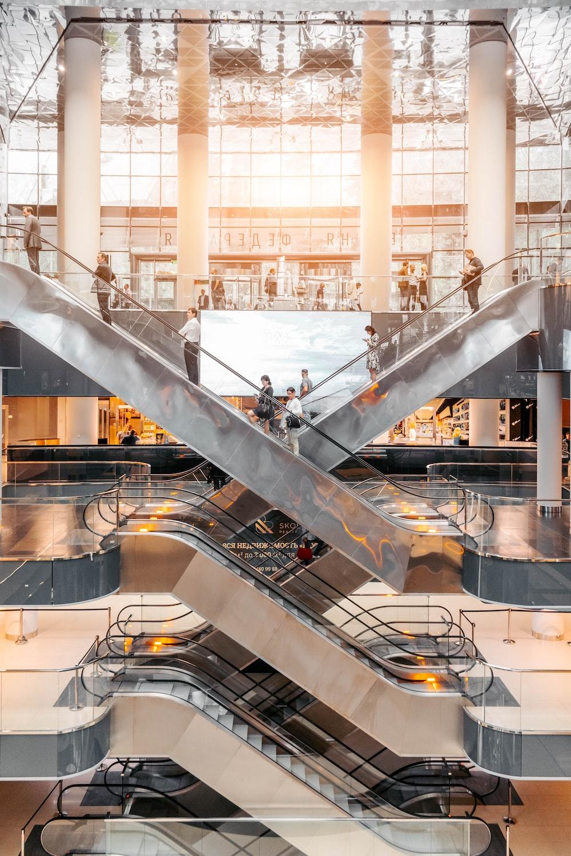 people using escalators