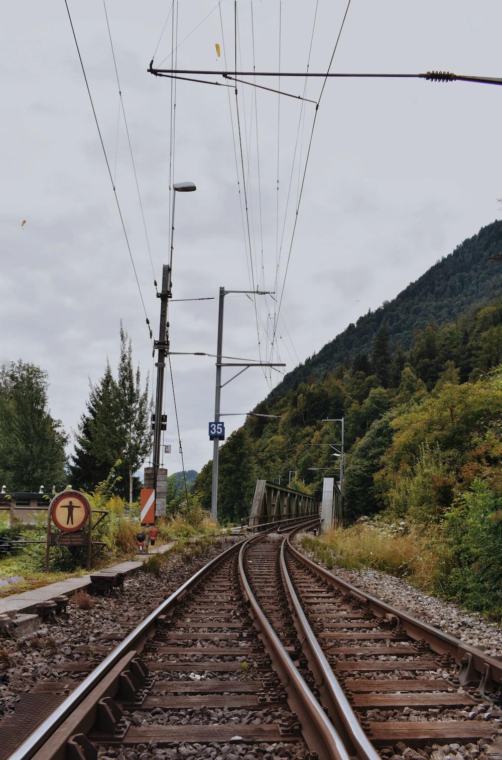 brown train railing