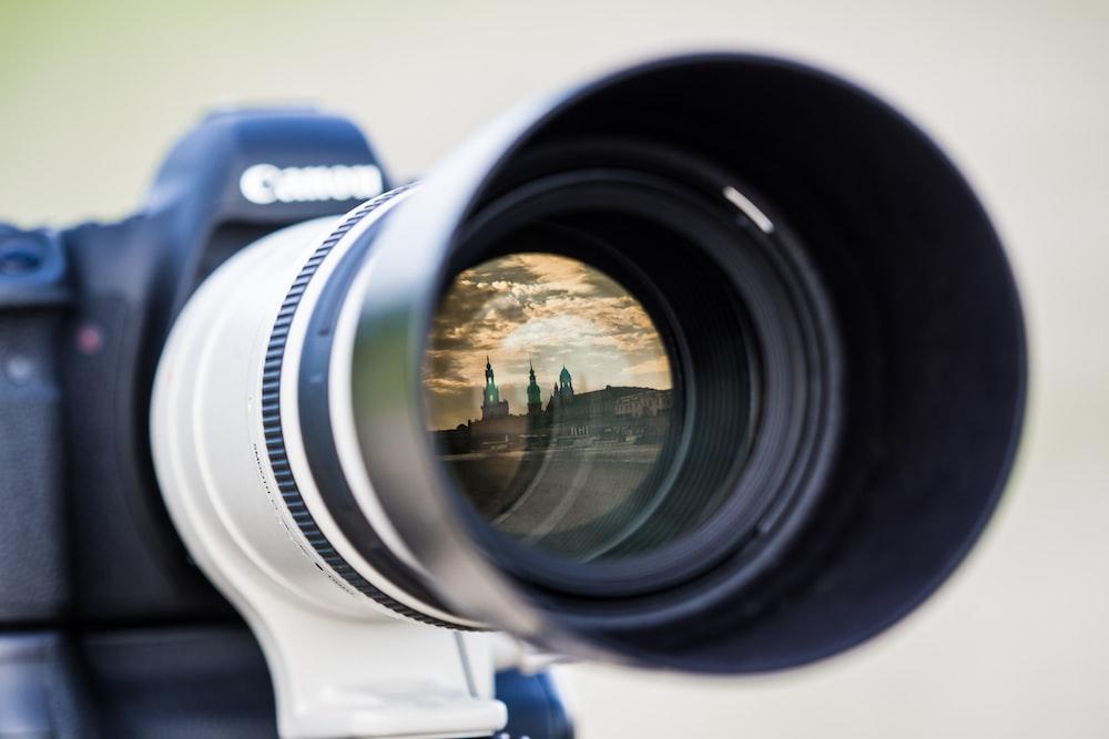 close-up of white camera lens