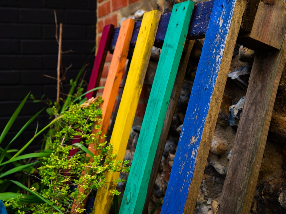 multicolored wood pallet