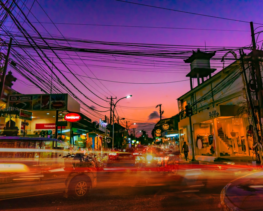 long-exposure photography light of vehicles on road