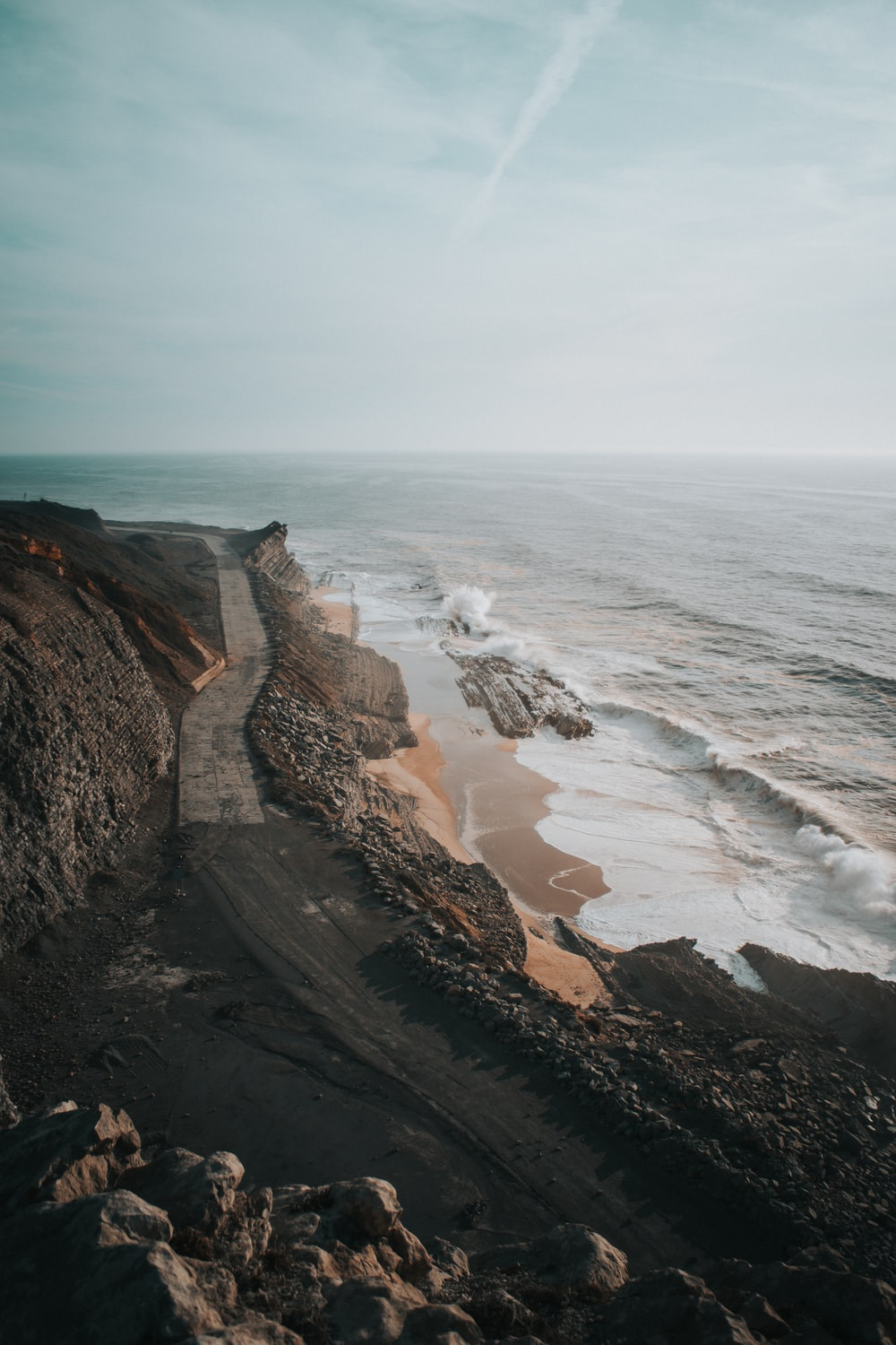 landscape photography of black and gray rock formation