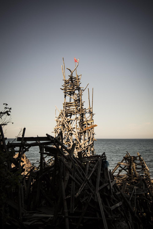 wood structure on seashore