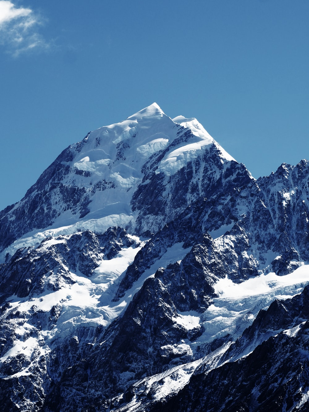 snowy mountain under a calm blue sky during daytime