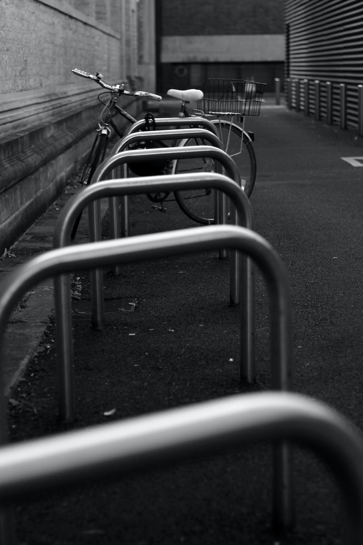 gray metal rails