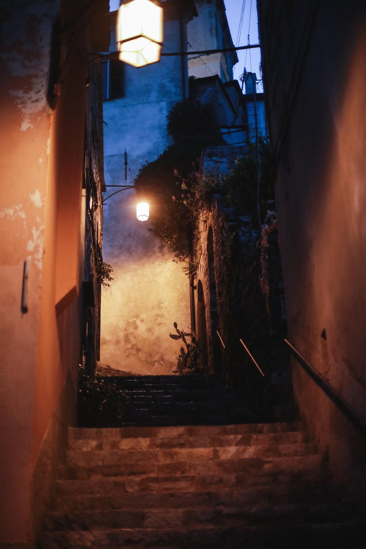 lighted street lights