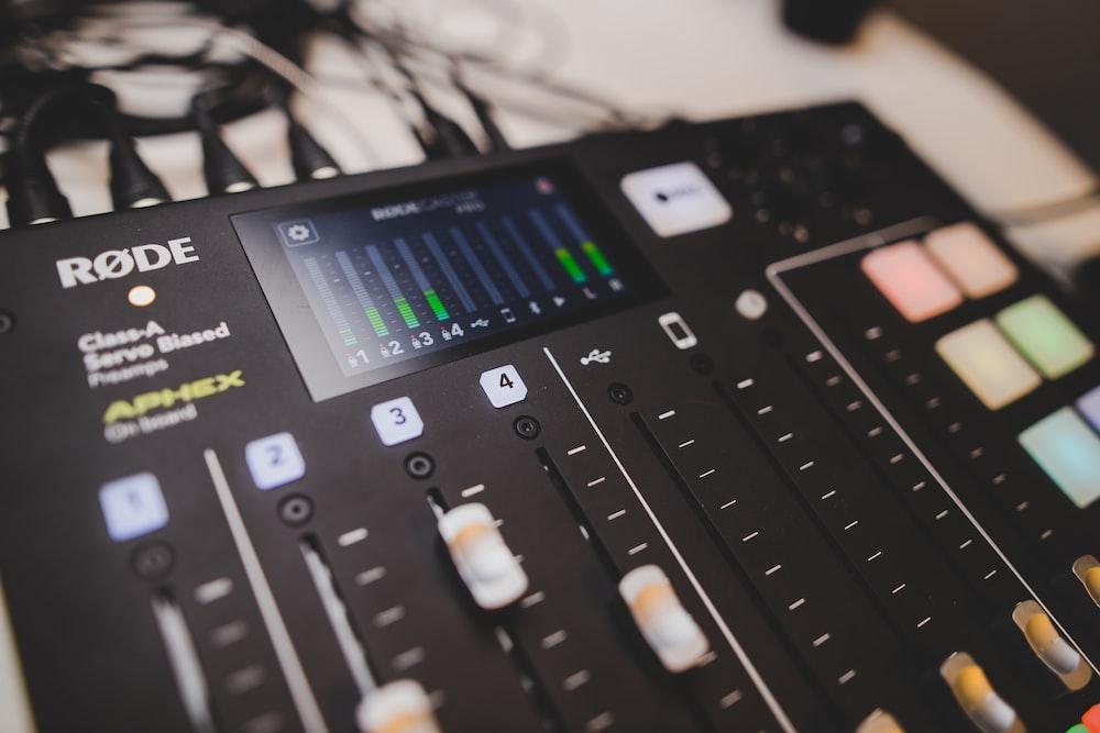 black Rode audio mixer turned on