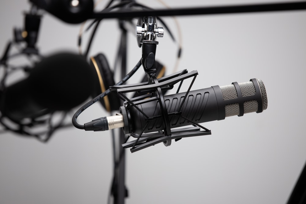 black and grey condenser microphone