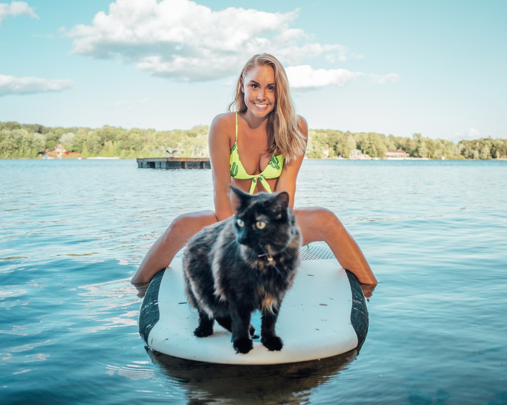 woman wearing green bikini top sitting on black and white surfboard near tortoiseshell cat on blue sea under blue and white skies during daytime