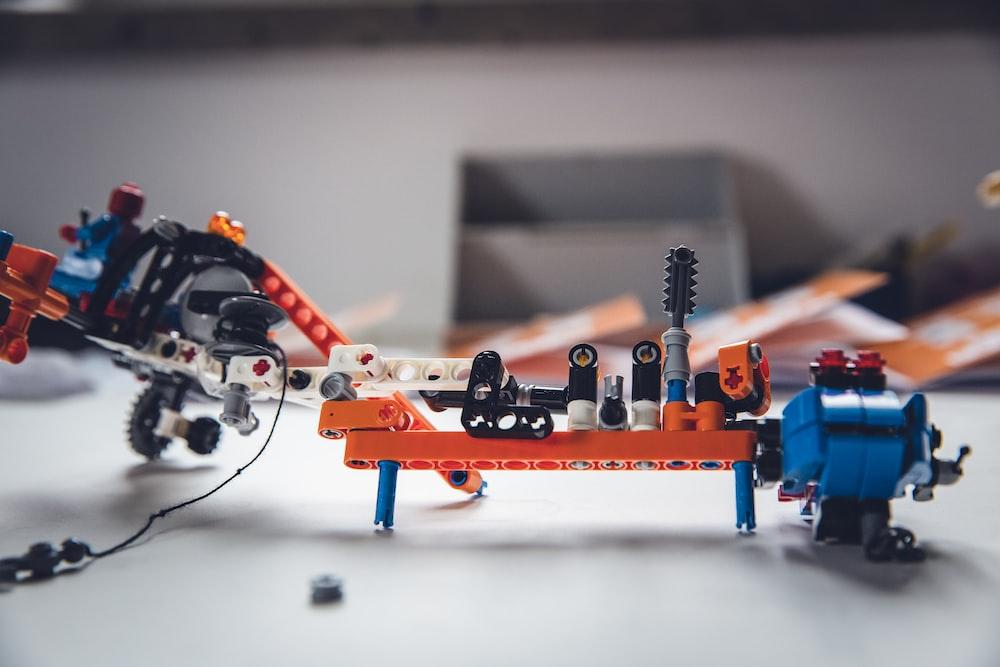 orange and black robot toy