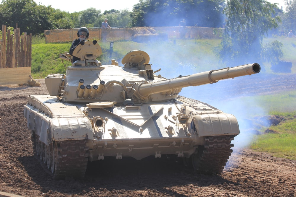 white and gray battle tank