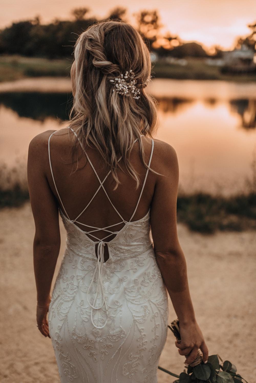 women's white spaghetti strap dress