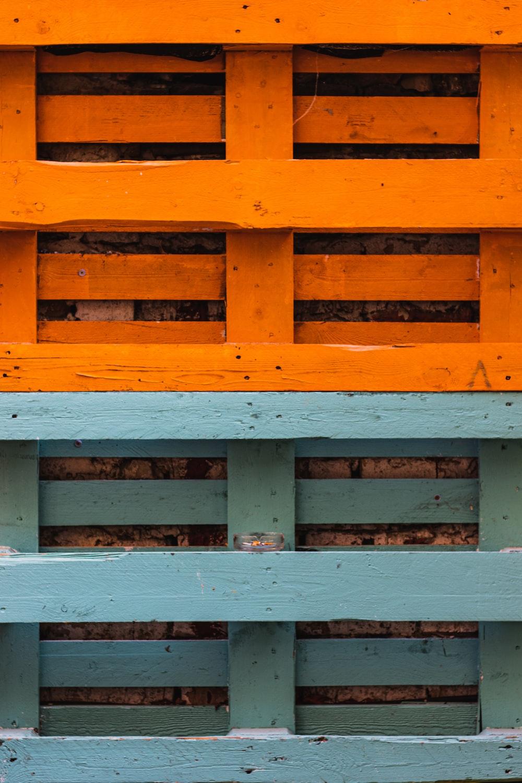 orange and blue wooden furniture