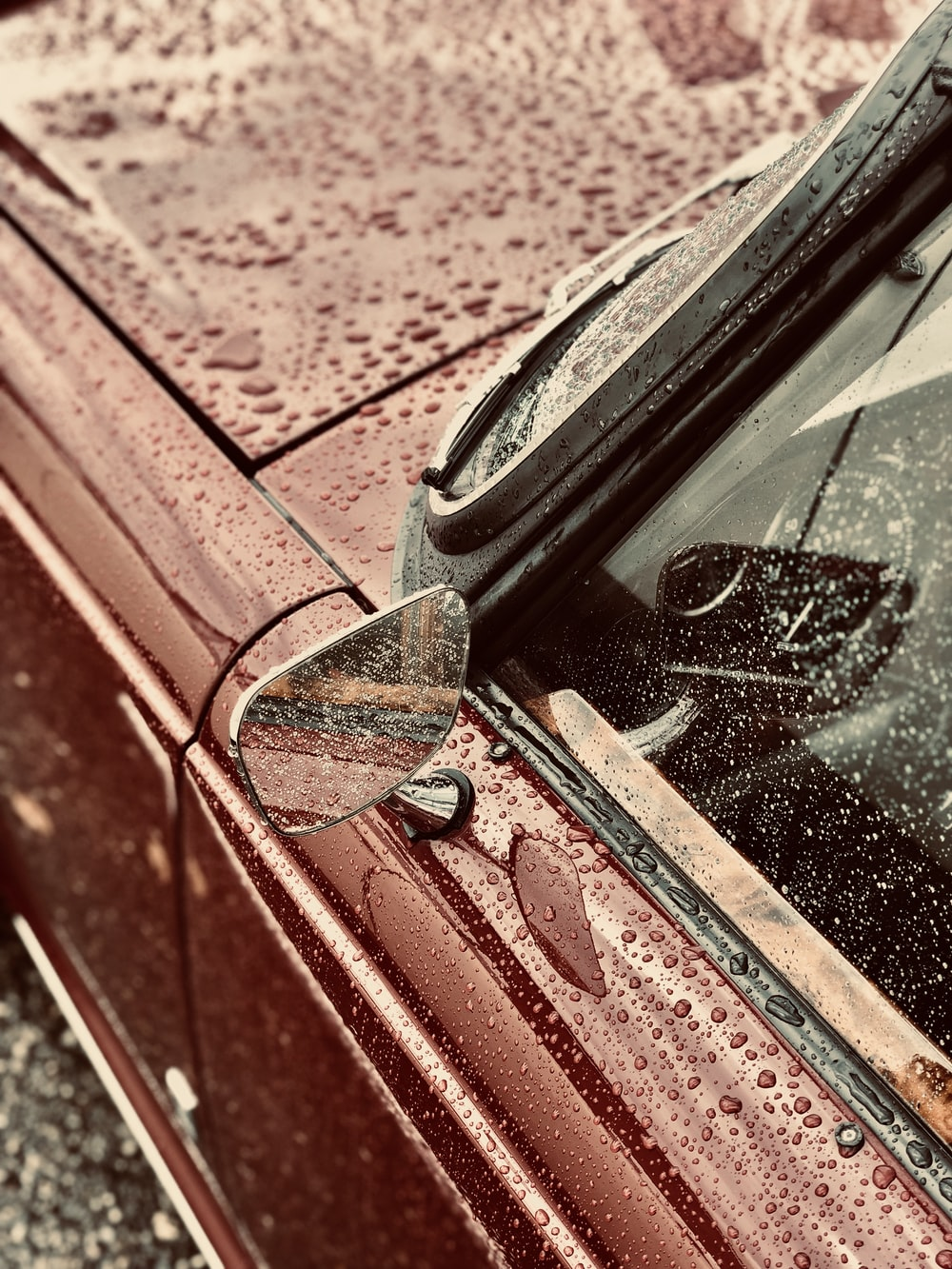 classic car with dew