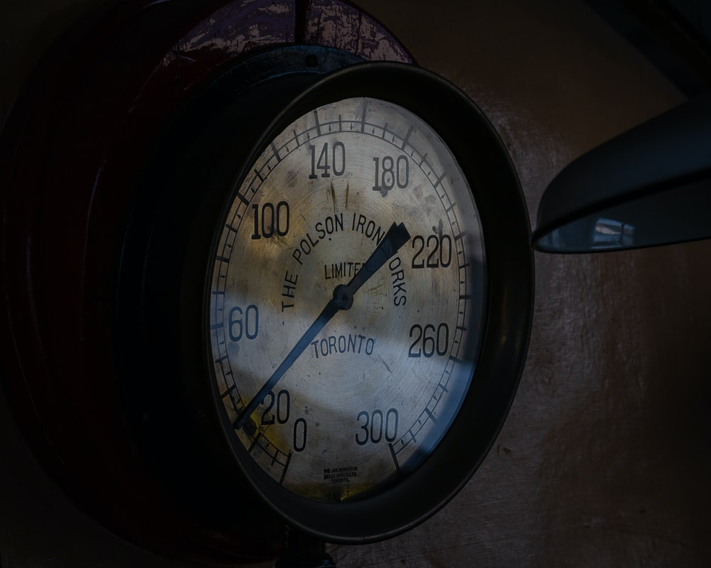 round white and black gauge