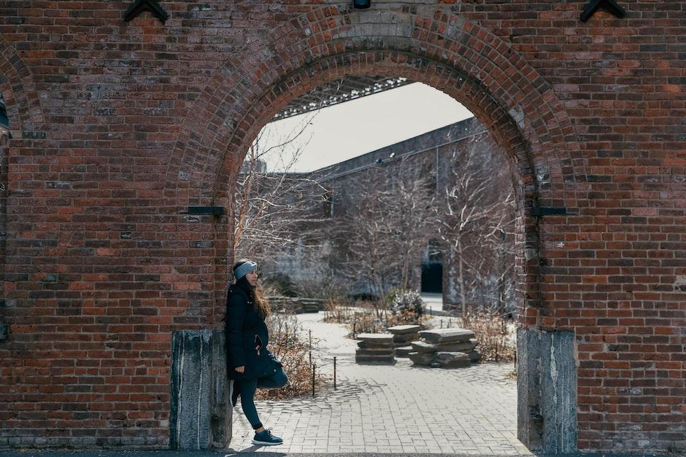 woman wearing black parka jacket