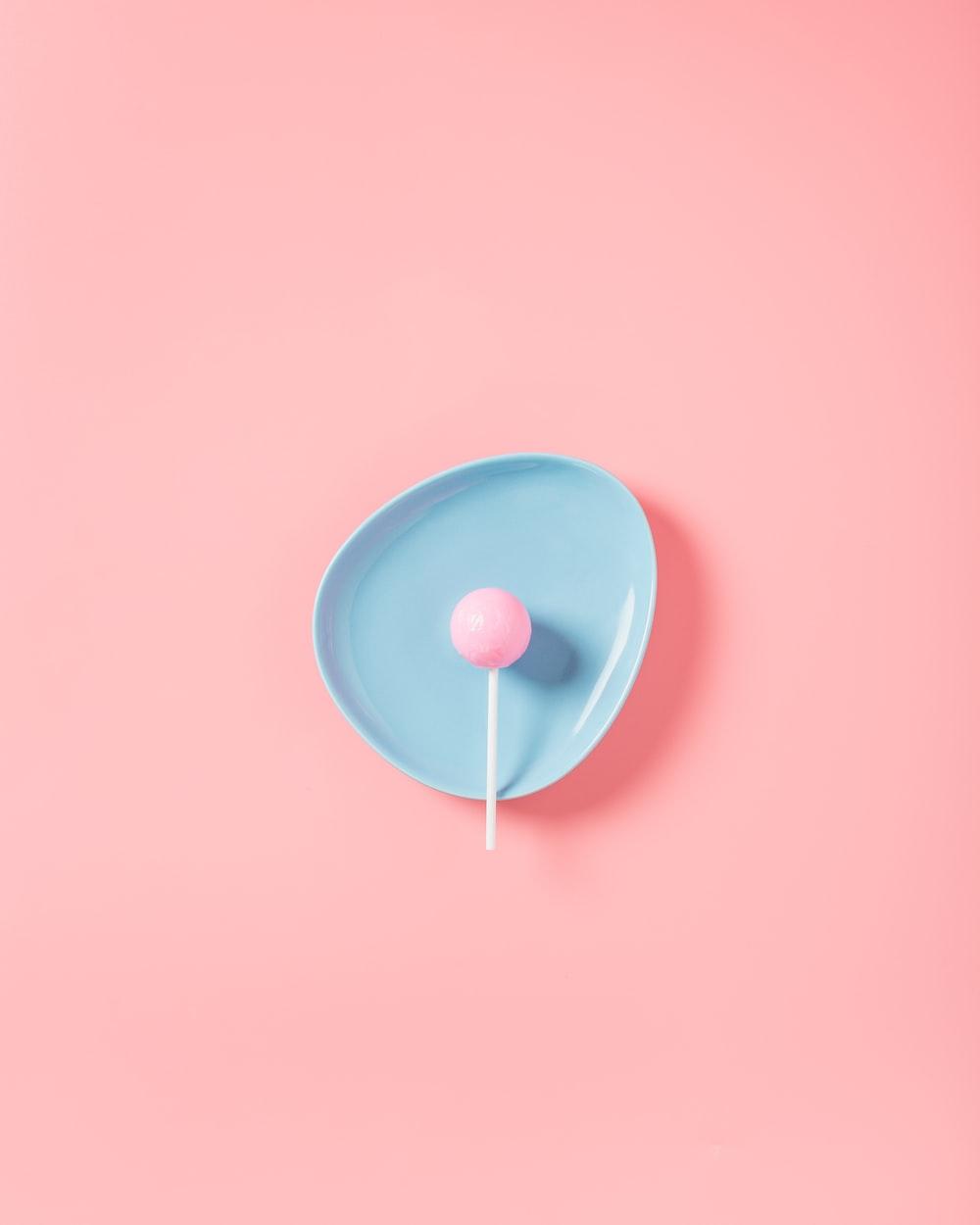 lollipop in blue plate