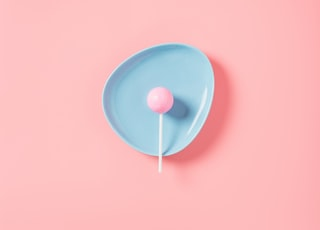 lollipop in blue plate