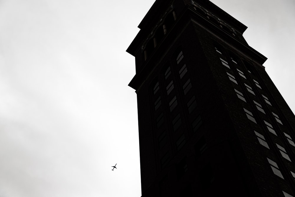 black high-rise building illustration