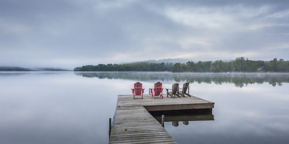 four chairs on dock