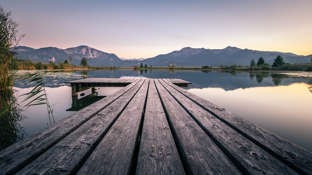 black wooden dock