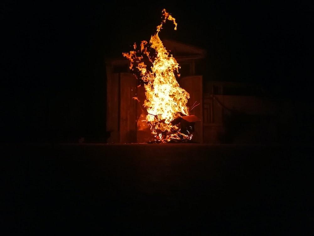 boxes burning during nighttime