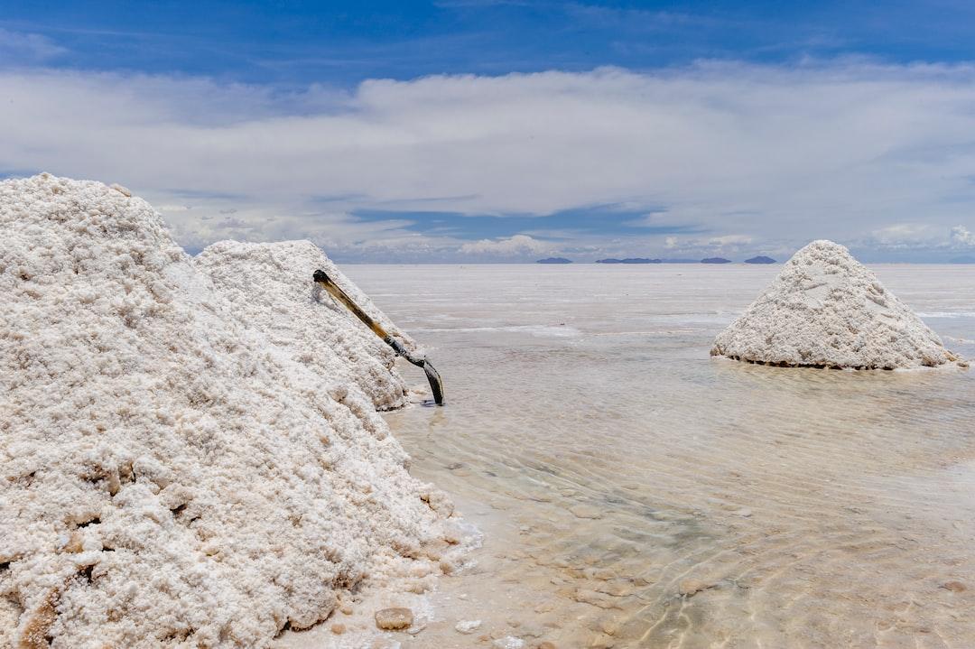 Salt harvest in the Uyuni salt desert in Bolivia