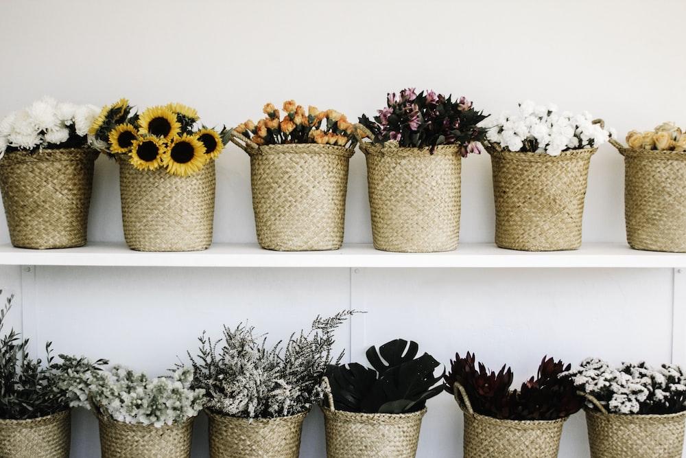 flowers on baskets