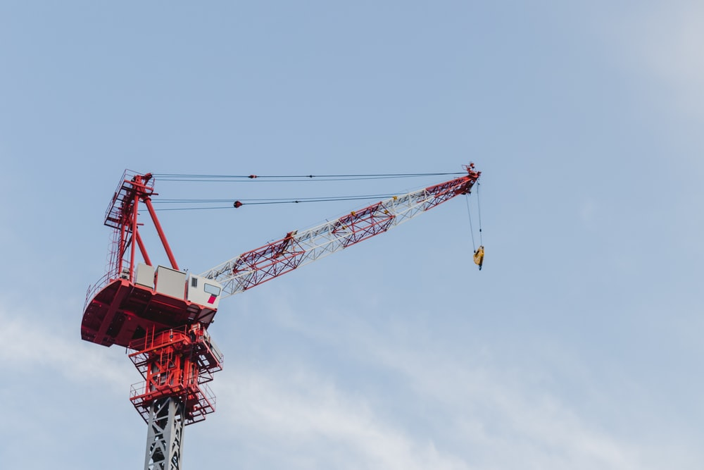 red and white crane