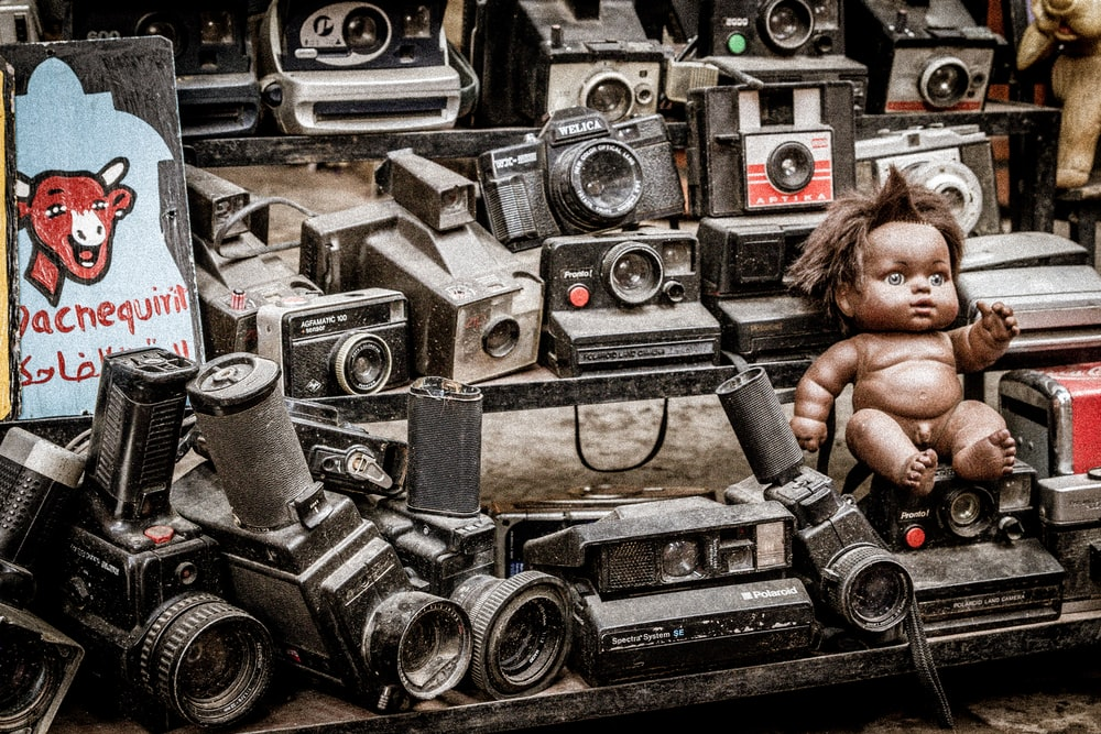 boy doll and speakers