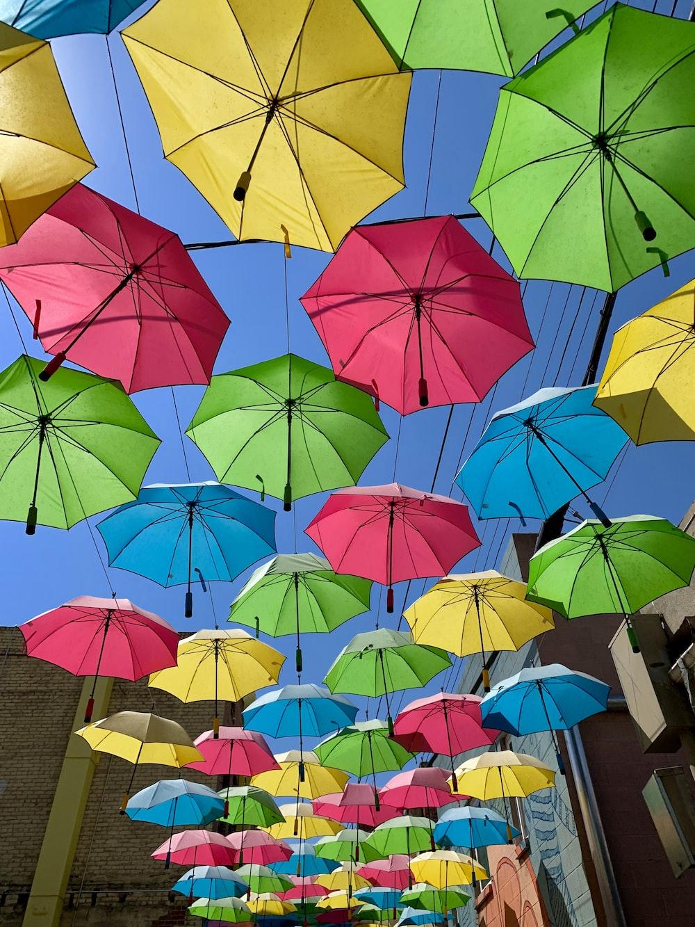 multicolored umbrella wall decor