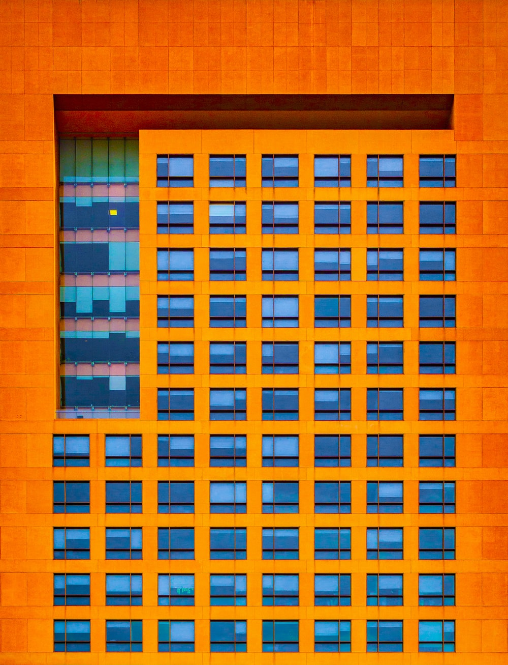 blue and orange building