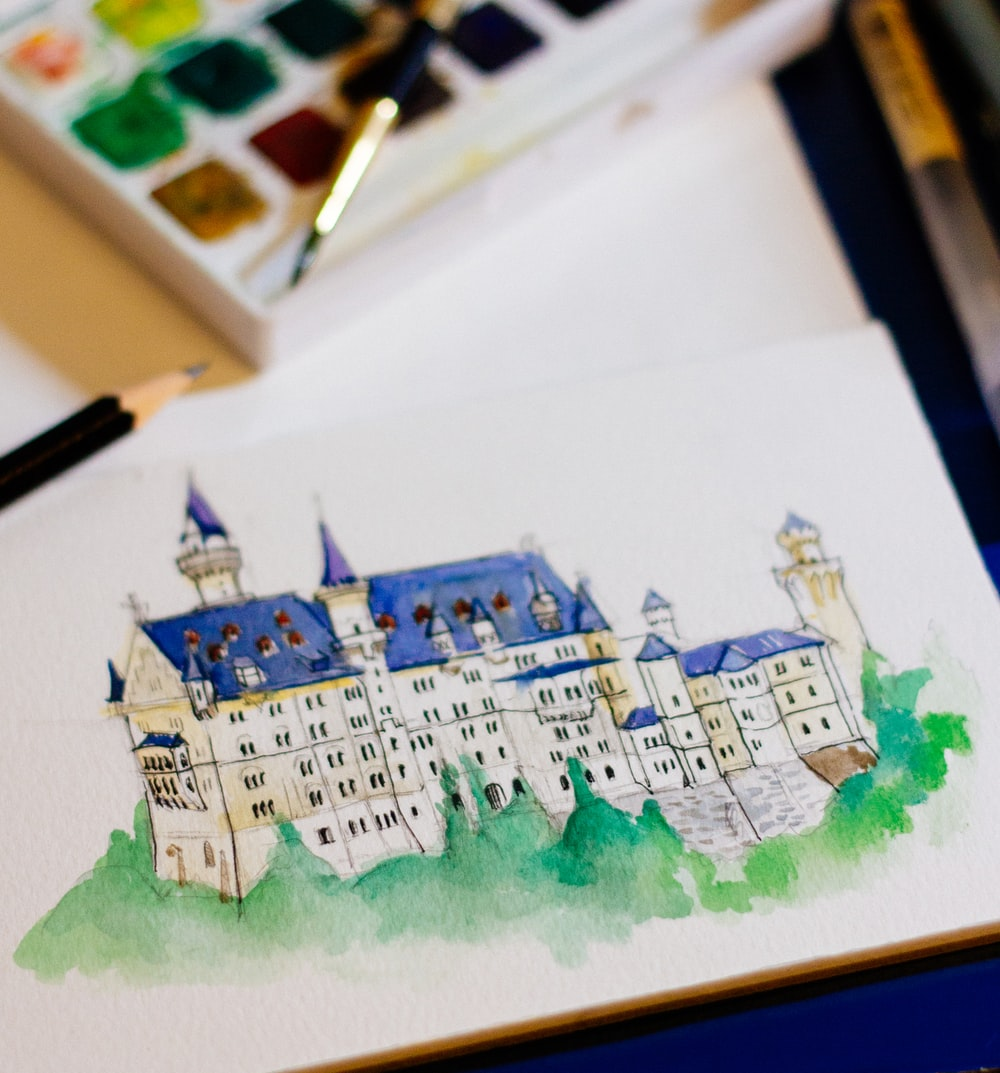 white and blue castle painting
