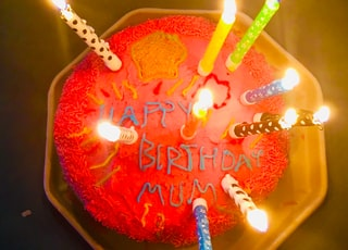 lighted cake candles