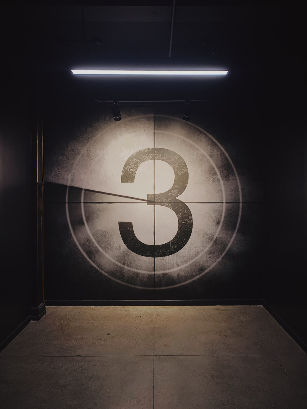 black number 3 wall paint