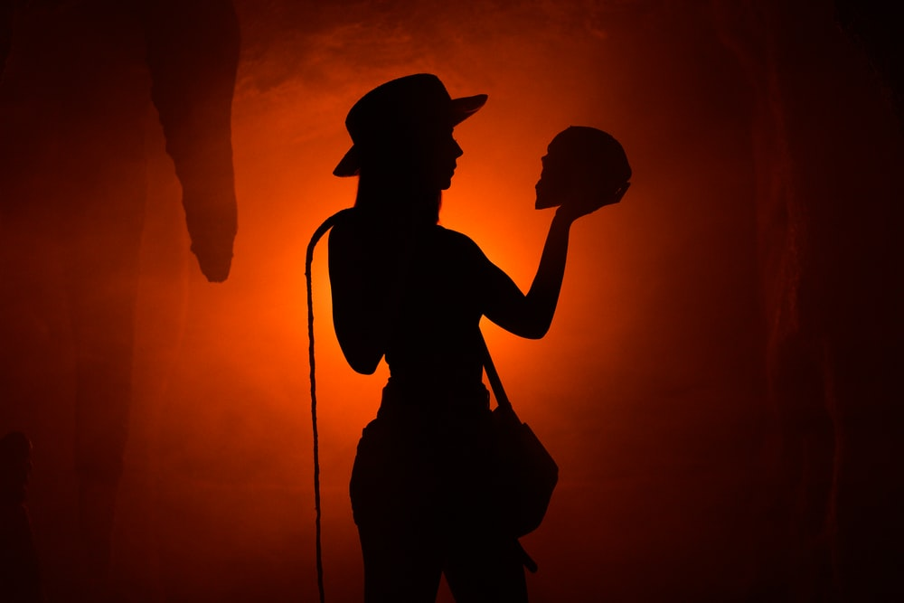 silhouette photo of cowgirl