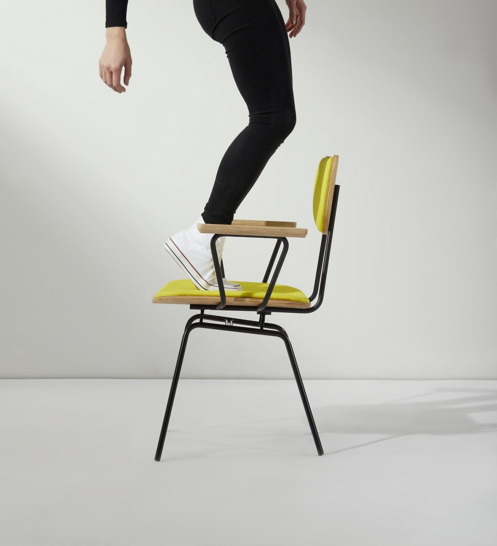 person standing on chair