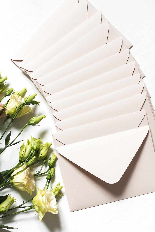 white envelope and flower