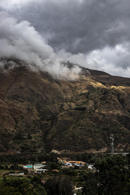 town near mountains
