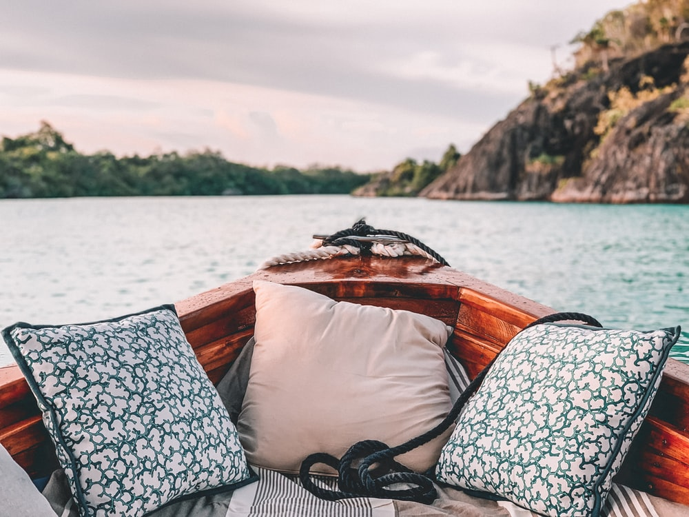 two pillows in boat